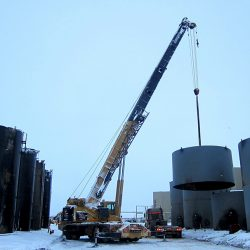 Building storage tanks for trans loading operations
