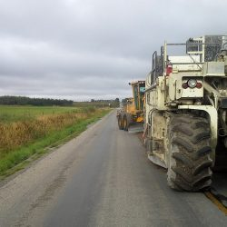 Pulverizing old asphalt roadway