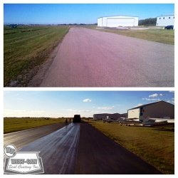 Before and after, resurfacing municipal taxiway and apron using micro-surfacing