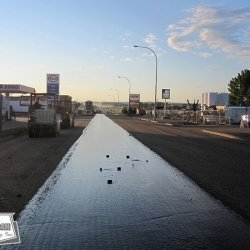 West-Can placed this washed chip seal at 5 am to accommodate early morning traffic