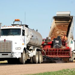 Placing graded aggregate on a low volume county roadway