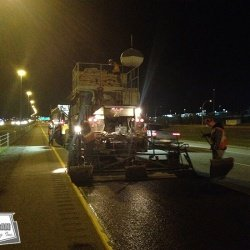 Continuous night micro surfacing between Calgary and Edmonton
