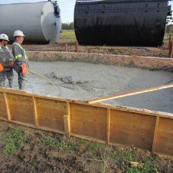 Pouring foundation for a tank farm