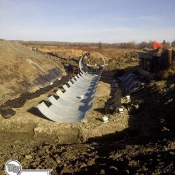 Over 120 feet long and 12 feet tall, West-Can has the ability to take on niche construction work including multi plate culverts built on site