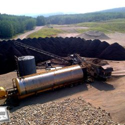 West-Can Seal Coating specializes in custom blending using crushed asphalt or virgin aggregate. In this picture 60,000 tonne of cold mix was produced for site improvement