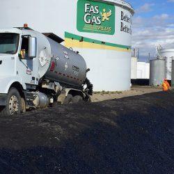 Berm spraying around tank farm