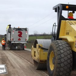 Prepping a County roadway for an asphalt overlay